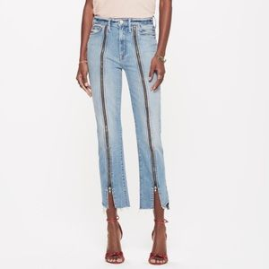 Mother High Waisted Rascal Zip Step Fray Jeans